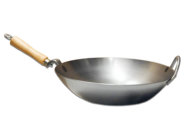 Wok Shop Carbon Steel Wok With Metal Side Handle, Round Bottom, 14-inch